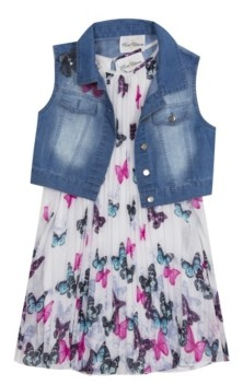 Rare Editions Toddler Girls 2-Pc. Denim Vest & Pleated Butterfly Dress Set