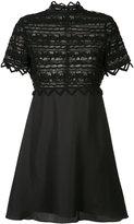 Zac Posen high neck lace dress - women - Cotton/Polyester - 4
