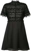 Zac Posen high neck lace dress - women - Cotton/Polyester - 6