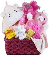Pellatt Cornucopia Newborn Baby Girl Bath Gift Basket with Hooded Towel, Washclothes, Organic Soap and Bath Thermometer
