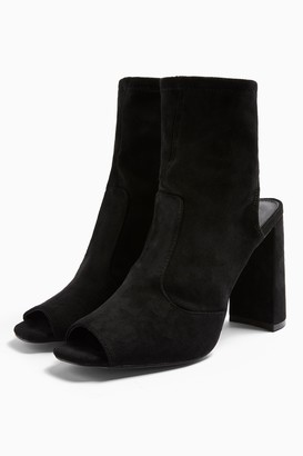 Topshop Womens **Wide Fit Sindy Black Stretch Boots - Black