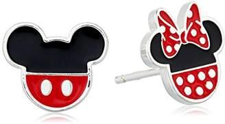 Disney Sterling Mouse Enamel Stud Earrings