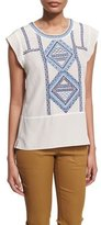 Veronica Beard Baja Embroidered Silk Top, Cream