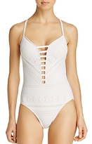 Bleu Rod Beattie Crochet Plunging One Piece Swimsuit