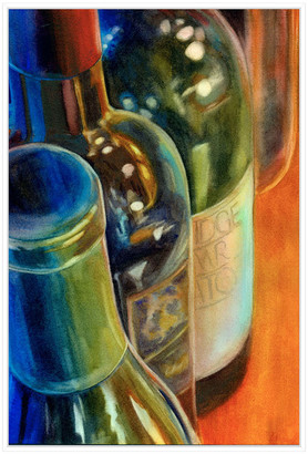 Jonathan Bass Studio Blue Bottles, Decorative Framed Hand Embellished C