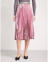 Christopher Kane Pleated metallic silk-blend midi skirt