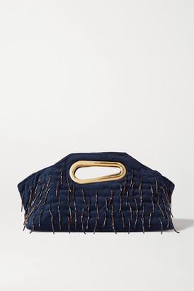 Khaore - Holder Bead-embellished Quilted Velvet Tote - Navy