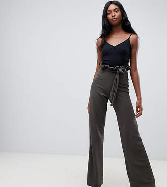 In The Style Tall In The Style tall flared high waisted paperbag trousers-Green