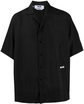 MSGM Boxy Silk Short-Sleeve Shirt