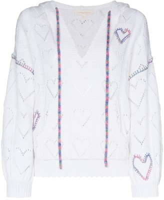 LoveShackFancy Meara open-knit heart-motif hoodie