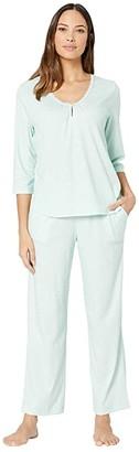 Karen Neuburger Marie Antoinette 3/4 Sleeve Henley Long PJ (Diamond Mint) Women's Pajama Sets