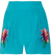 Matthew Williamson Jungle Embroidered Silk Crepe De Chine Shorts