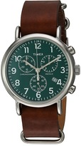 Timex Weekender Chrono Oversize Leather Slip-Thru Strap