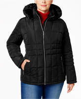 Calvin Klein Plus Size Faux Fur Hood Down Coat