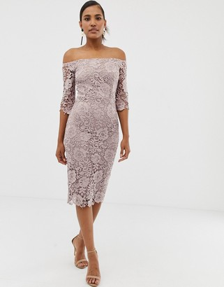 Paper Dolls crochet lace bardot midi pencil dress in mink-Brown