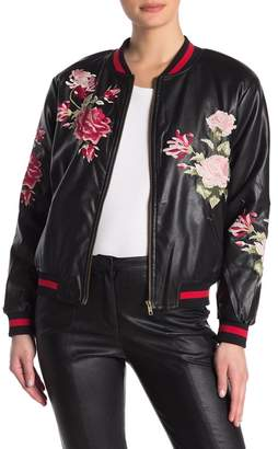 Sugar Lips Sugarlips Floral Embroidered Faux Leather Bomber Jacket