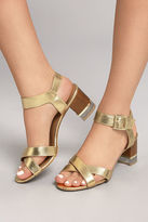 Qupid Blaire Gold High Heel Sandals