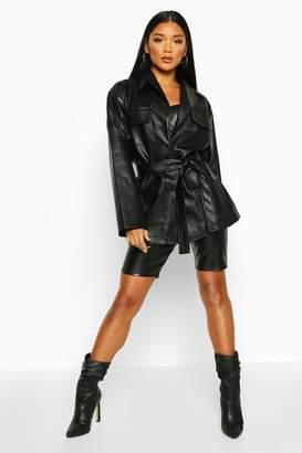 boohoo Oversized Leather Look Jacket