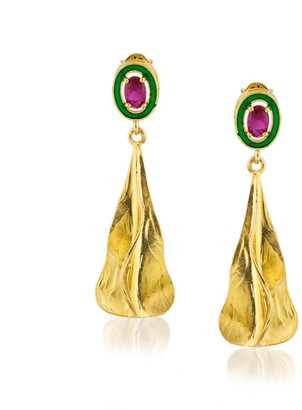 Milou Jewelry Sterling Silver Gold Plated Pear Drop Earrings with Fuchsia Zircon Stone