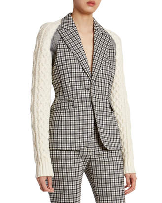 Altuzarra Plaid Wool Sweater-Sleeve Blazer