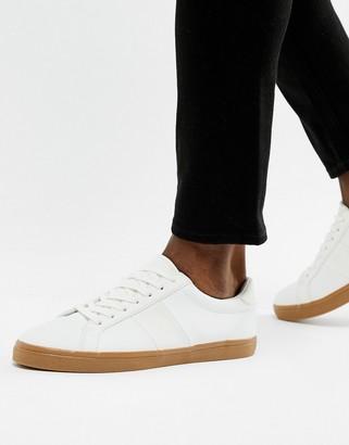Asos Design DESIGN trainers in white with gum sole