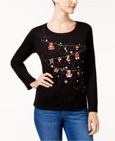 Karen Scott Petite Cotton Holiday Graphic Top, Created for Macy's