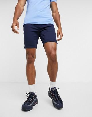 Topman skinny chino shorts in navy