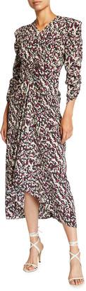 Isabel Marant Floral Silk Ruched V-Neck Dress