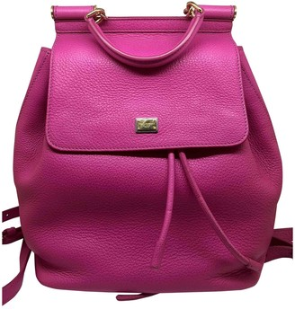 Dolce & Gabbana Sicily Pink Leather Backpacks