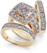 Macy's Diamond Cluster 3-Pc. Bridal Set (4 ct. t.w.) in 14k Gold