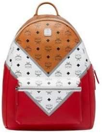 MCM Men's Stark M Move Visetos Backpack - Cognac Red