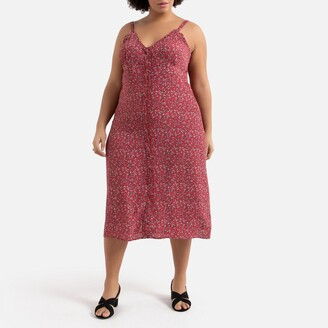 La Redoute Collections Plus Printed Buttoned Midi Dress with Shoestring Straps