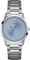 GUESS Men's Ice Blue and Silver-Tone Diamond Dress Watch