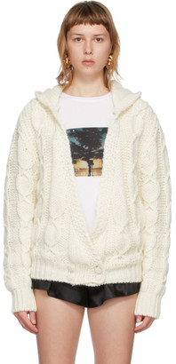 Saint Laurent Off-White Mohair and Wool Hooded Cardigan