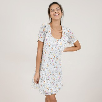Molly Bracken Flared Mini Dress in Floral Print with Square Neck and Short Sleeves