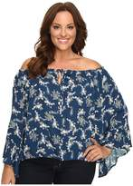 Christin Michaels Plus Size Iris Off the Shoulder Top with Front Tie