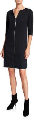 Joan Vass V-Neck 3/4-Sleeve Shift Dress with Contrast Details