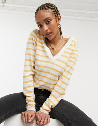 Object Thess v-neck stripe jumper in white