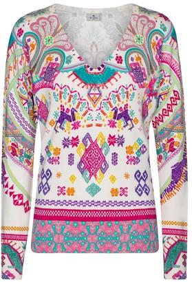Etro Printed stretch-silk sweater