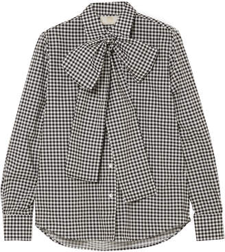 Sara Battaglia Pussy-bow Gingham Cotton-poplin Shirt