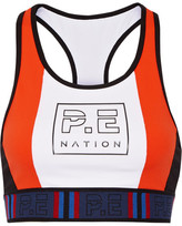 P.E Nation - Hybrid Check Color-block Sports Bra - Bright orange