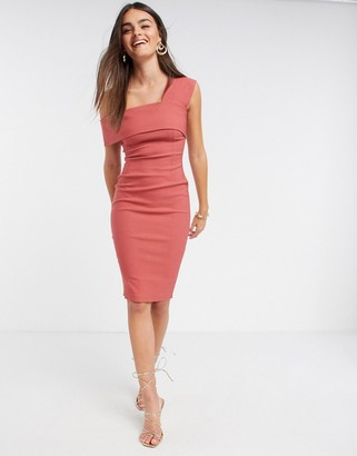 Vesper fallen shoulder fitted midi dress in rose