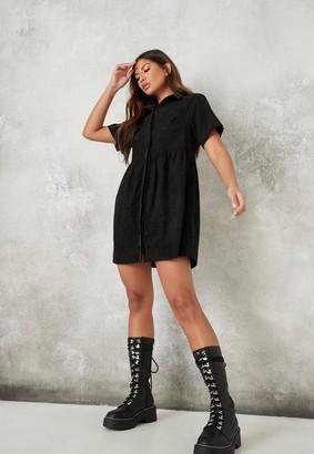 Missguided Black Cord Shirt Smock Dress