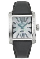 TW Steel Goliath CE3015B Stainless Steel / Black Leather and 0.62ct Diamonds with Silver Dial 37mm Mens Watch