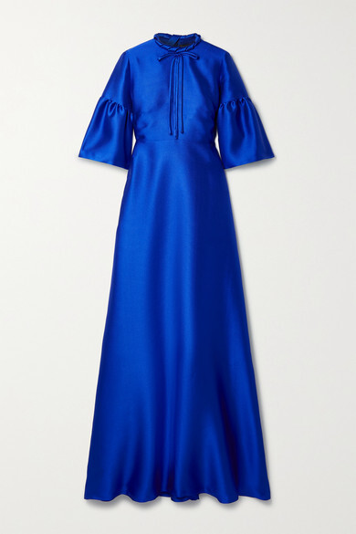 Thumbnail for your product : Reem Acra Tie-neck Mikado-pique Gown - Royal blue