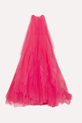 Carolina Herrera Ruffled Tulle And Organza Gown - Bright pink