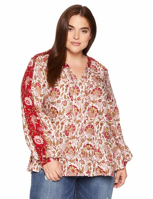 Lucky Brand Women's Plus Size Border Print Puff Sleeve Peasant TOP in RED
