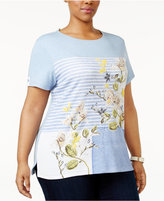 Karen Scott Plus Size Floral-Print Striped T-Shirt, Only at Macy's
