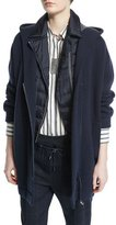 Brunello Cucinelli Hooded Cashmere Long Jacket, Navy