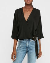 Express Satin Wrap Front Side Buckle Top
